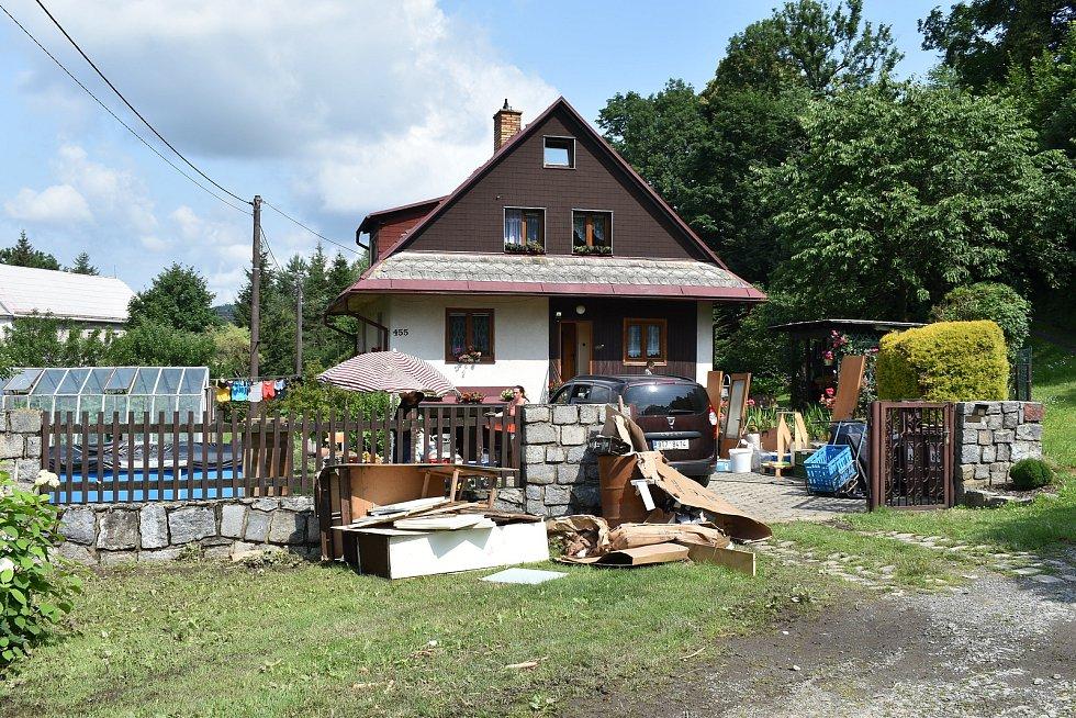 Bělá pod Pradědem - Horní Domašov. 19. července, den po bleskové povodni.