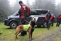 Pes Cedr se svým pánem při výcviku.
