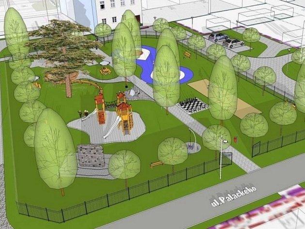 Vizualizace opraveného centra Zlatých Hor.