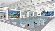 Vizualizace proměny interiéru bazénu v České Vsi - kondiční bazén (varianta s plnými vazníky).