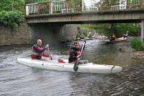 Parta vodáků kolem vikýřovické půjčovny lodí Tydra čistí břehy řeky Moravy.