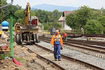 Elektrifikace Železnice Desná. Postup prací v okolí Rapotína a Petrova nad Desnou 18. června 2015.
