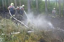 Požár lesa u obce Krchleby.