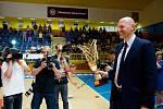 Prostějov vs. Olomouc. Rozhodující finálový zápas, radost prostějovských volejbalistek ze zisku titulu, Olomouc slaví stříbro