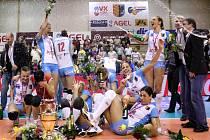 Prostějovské volejbalistky zvládly i třetí finálové utkání proti Olympu Praha. Vyhrály jej 3:0 na sety, stejným poměrem ovládly i celou finálovou sérii a podle předpokladů se počtvrté v řadě staly českými šampionkami.