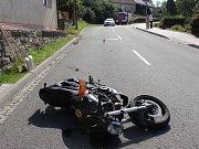 Havárie opilého motorkáře v Přemyslovicích
