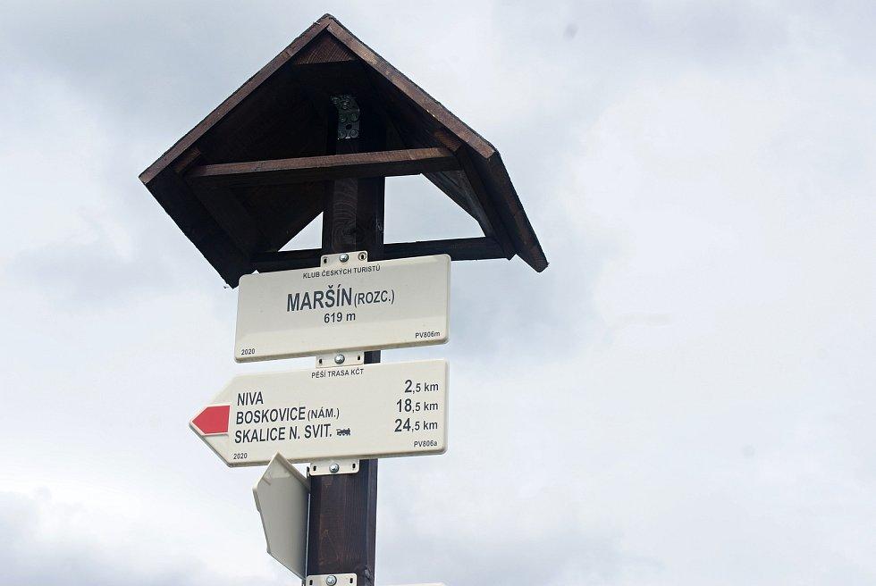 Změny turistického značení na Drahanské vrchovině - nové trasy a rozcestníky - Maršín