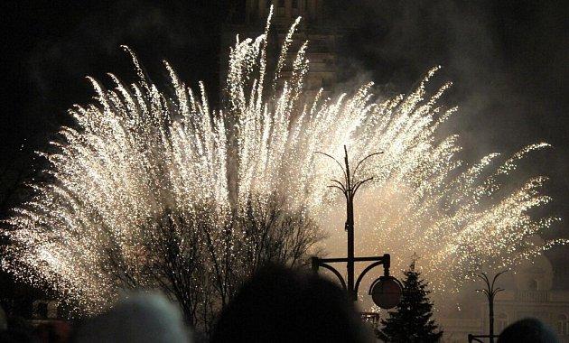 Silvestrovský ohňostroj v Prostějově 2015