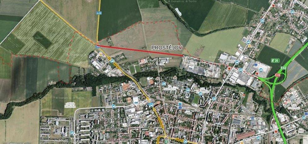 Severní obchvat - Dopravní spojka, která by měla ulevit přetížené Olomoucké ulici by měla ústit z kruhového objezdu u Držovic.