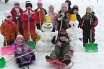 Sněhuláci dětí z MŠ v Biskupicích