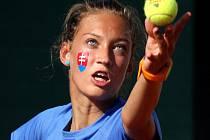 MS tenisových družstev do 14 let - V dívčím finále se proti sobě postavily reprezentantky Slovenska a Velké Británie. Napínavý duel nakonec skončil vítězstvím Slovenek 2:1.  (na snímku Tereza Mihalíková)