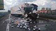 Nehoda dvou kamionů na D46 (třetí nehoda) - 22. května 2018