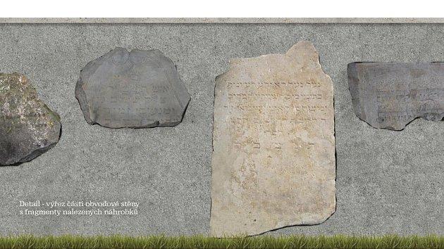 Vizualizace úprav bývalého židovského hřbitova - detail stěny