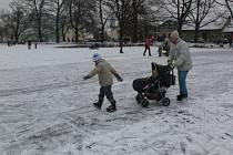 Na zamrzlé hladině Drozdovického rybníka se proháněli zkušení bruslaři i ti, kteří to zkoušeli vůbec poprvé.
