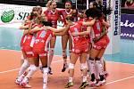 Prostějovské volejbalistky se radují se senzační porážky Kazaně