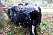 Řidič nezvládl řízení a skončil i s audi mimo silnici