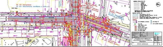 Projekční nákres - úpravy Olomoucké ulice