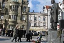 Prostějované uctili na náměstí památku Tomáše Garriqua Masaryka