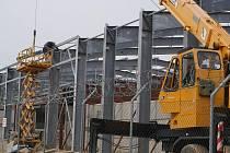 Stavba haly na střelnici v Hamrech