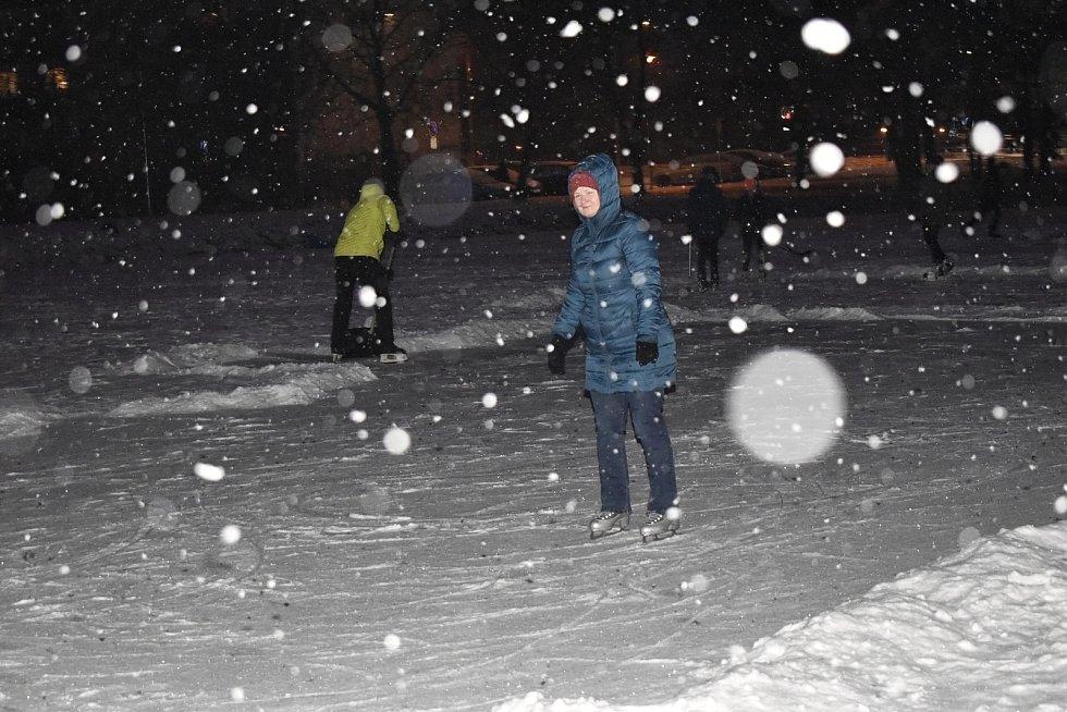 Bruslení na prostějovském rybníku - 18. ledna 2021