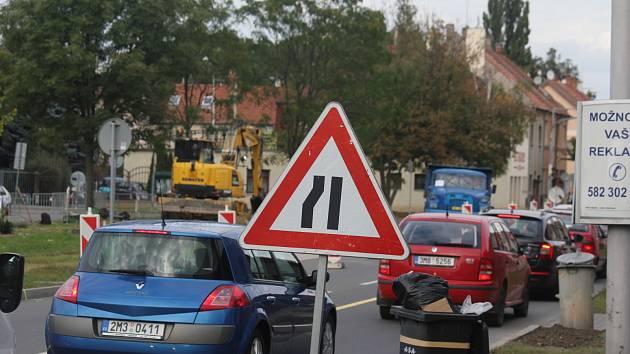Křižovatka Olomoucké ulice a E. Valenty v době rekonstrukce
