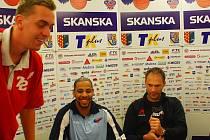 Basketbalisté BK Prostějov představili své letní posily: zleva Stanislav Votroubek, Rashaan Ames a Goran Savanovič.