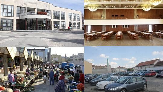 Centrum města Prostějova- Kasko, tržnice a obří parkoviště v Komenského