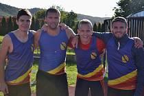 Štafeta SK Hranice na 4x400 m ve složení (zleva) Adam Orava, Miroslav Zatloukal, Petr Skřivánek a