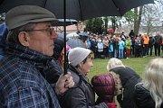 Miloš Zeman na setkání s veřejností v zámeckém parku v Konici