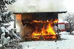 Požár zahradní chatky v Lipníku nad Bečvou