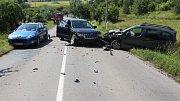 Srážka tří aut mezi Konicí a Štarnovem