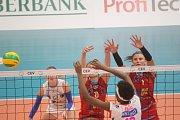 Volejbalistky Prostějova (v červeném) v Lize mistryň prohrály s Novarou 0:3.