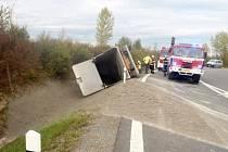 Tragická nehoda kamionu u Mořic