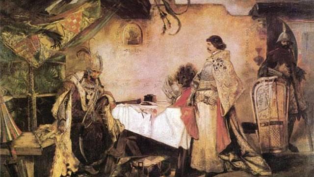 Matyáš Korvín při setkání s Jiřím z Poděbrad na obrazu Mikoláše Alše