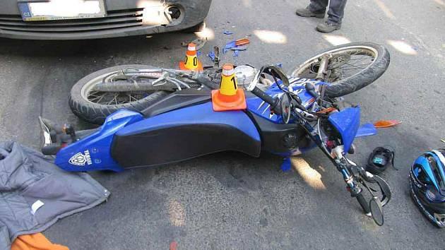 Nehoda motorkáře ve Vrahovicích