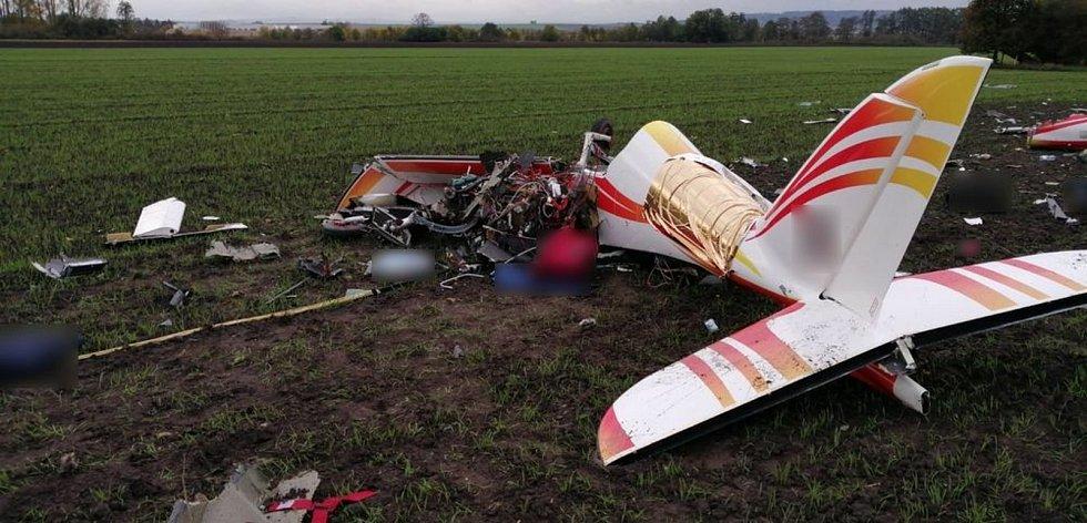 Tragická nehoda ultralehkého letadla u Olšan u Prostějova. 29.10. 2020