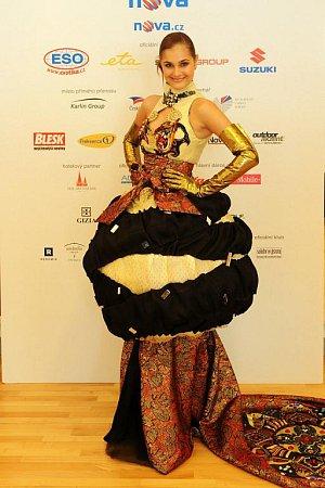 Klikněte pro zvětšení. Šaty reprezentující Olomoucký kraj vytvořily prostějovské studentky