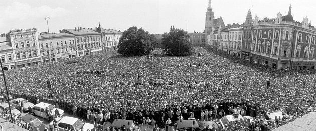Václav Havel vProstějově 28.května 1990