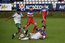 Prostějovská Haná (v bílém) zdolala v domácím prostředí Slovan Černovír 4:1. 28.8. 2021