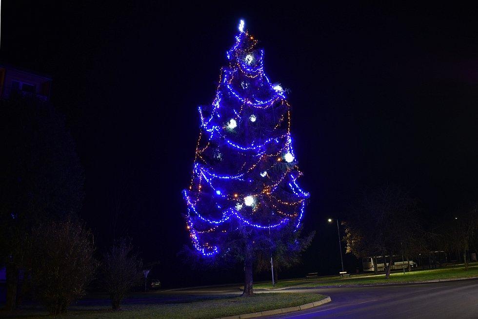 Vánoční strom v Hanušovicích.