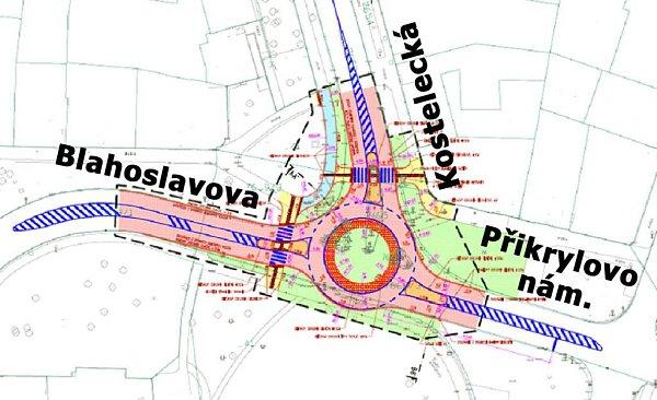 Křižovatku řízenou semafory a dopravními značkami nahradí na Přikrylově náměstí rondel