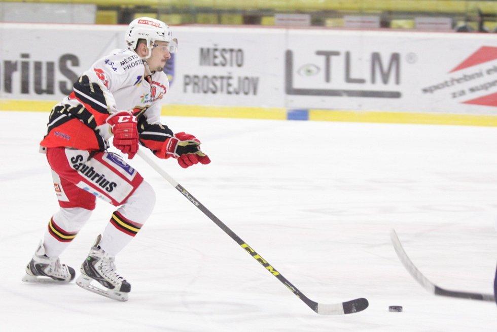 Prostějovští hokejisté se v sobotu na domácím ledě utkali s lídry první ligy kladenskými Rytíři. Patrik Moskal