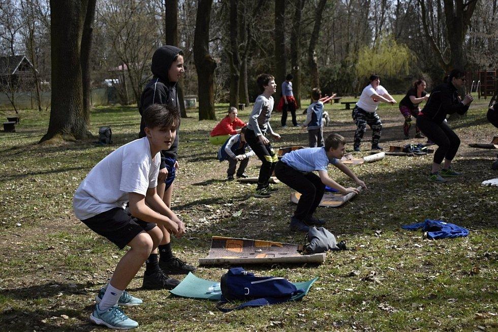 Cvičení u prostějovského bistra Hloučela, sobota 10. dubna 2021