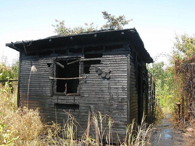 Požár zahradního domu v Prostějově