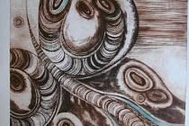 MOTÝL. Grafika vytvořená technikou suché jehly