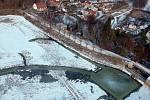 Napouštění Podhradského rybníka v Plumlově