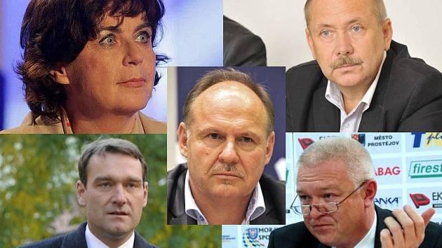 Pět poslanců za Prostějovsko vzešlých z voleb 2013 - nahoře (Jitka Chalánková, Pavel Holík), dole (Radim Fiala, Jaroslav Faltýnek), uprostřed (Ladislav Okleštěk)