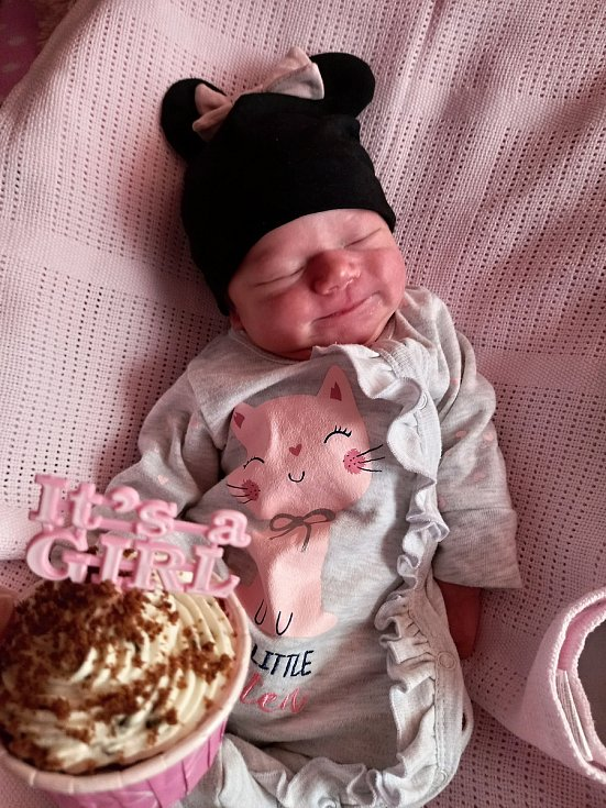 Matylda Jakubcová, Chvalčov, okres Kroměříž, narozena 23. března 2021 v Přerově, míra 49 cm, váha 3200 g
