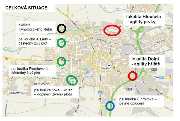 Mapka svyznačenými psími loučkami a hřišti ve městě Prostějov.