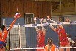 Volejbalistky Prostějova (v červeném) vyhrály první utkání finálové série s Olomoucí